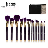 Jessup Brand 15pcs Beauty Makeup Brushes Set Brush Tool Purple And Darkviolet T114 Cosmetics Bags Women