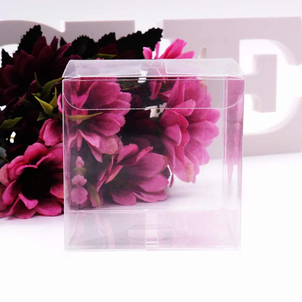 50Pcs/lot Transparent Clear Gift Candy Box Square PVC Chocolate Bags Boxes Wedding Favor Party Event Decoration caja de dulces