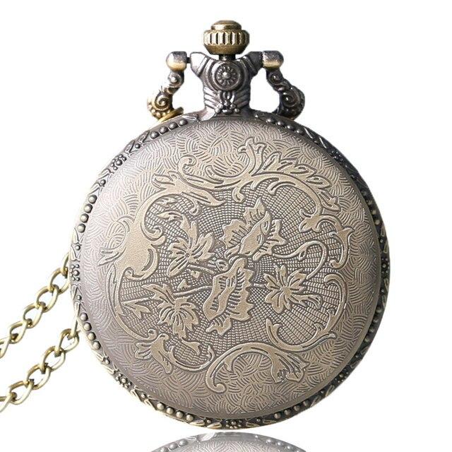 Antique  Bronze Night Owl Necklace Quartz Pocket Watch Chain Men  chiristmas gift  P02