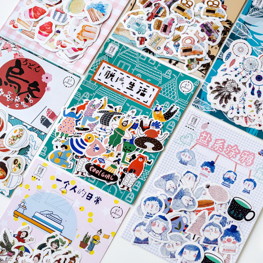 45pcs/pack Japan Cute Diary Paper Label Sealing Adhesive Scrapbooking Decorative DIY Stickers