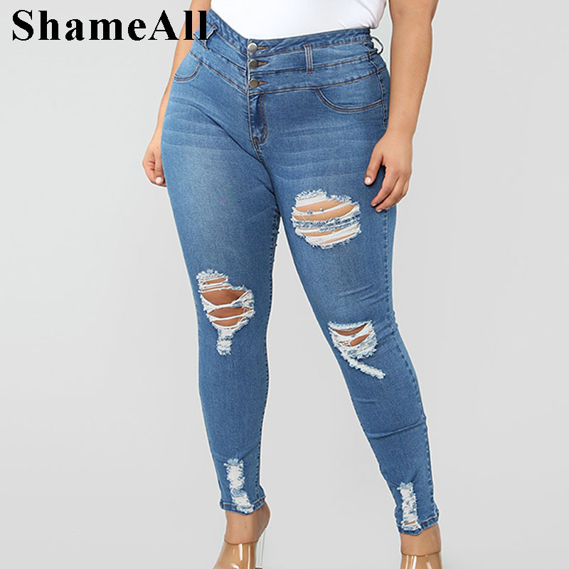 Plus Size Button Up Light Blue Hole Ripped Skinny Long Jeans 4XL Spring Autumn High Waist Women Stretch Denim Pants(China)