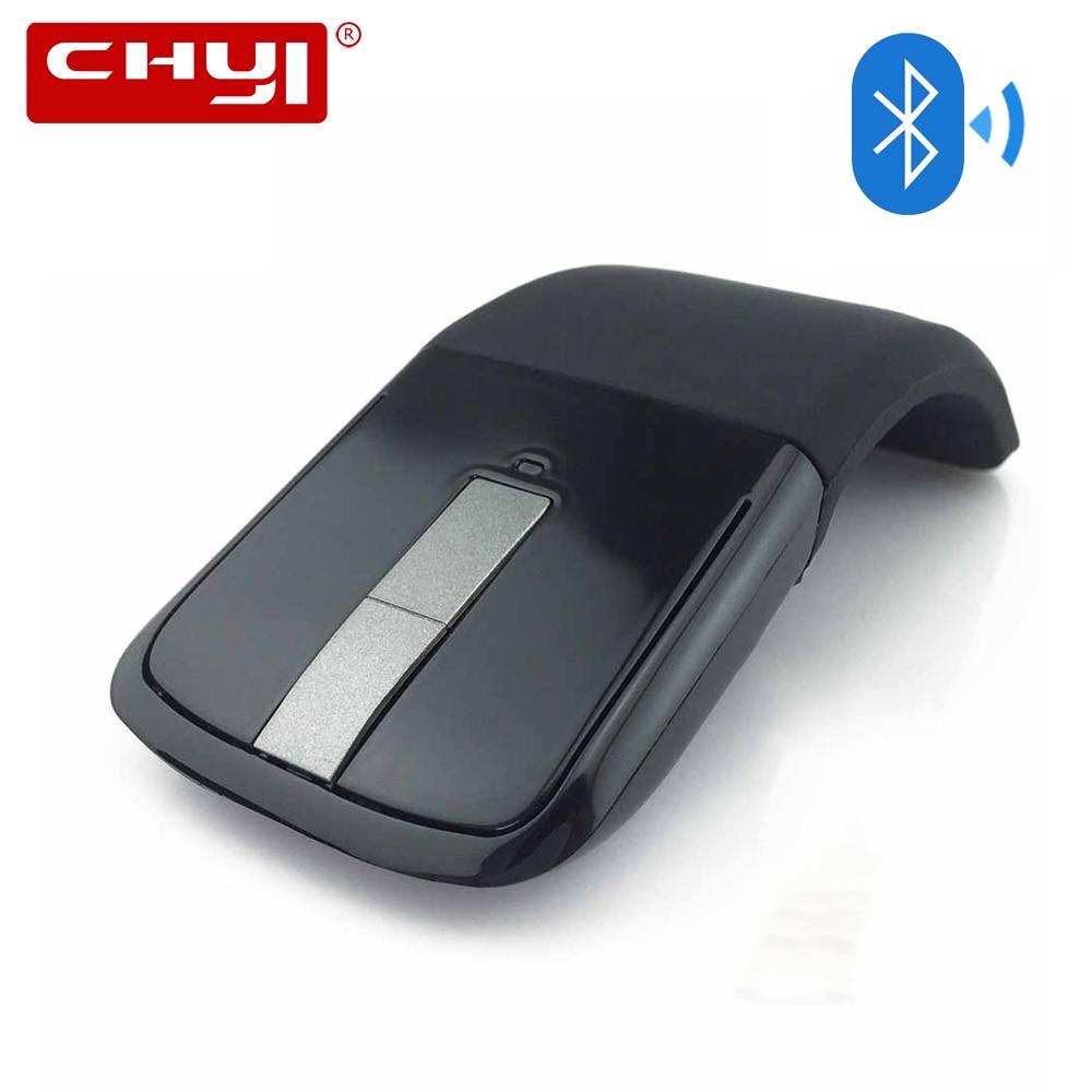все цены на CHYI Bluetooth Foldable Wireless Mouse Folding Arc Touch Mouse 1200DPI Optical Computer Bluetooth Mause for Microsoft PC Laptop онлайн