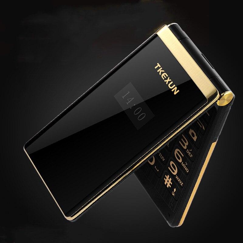 Mince Flip 3G WCDMA tactile affichage téléphone portable Senior SOS cadran rapide grande clé russe facile à travailler pour les personnes âgées double écran