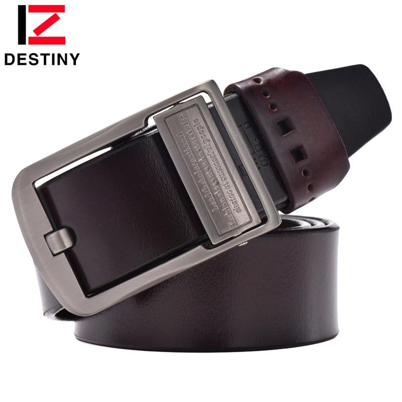 DESTINO Cinturón de cuero genuino para hombres de la marca de lujo diseñadores famosos ceinture homme Pin hebilla anchos jeans vintage marrón
