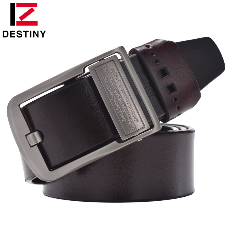 DESTINY genuine leather   belt   men luxury brand famous designers high quality ceinture homme Pin buckle wide jeans vintage brown