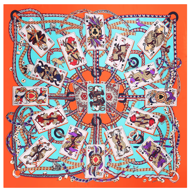POBING 100% Silk   Scarf   Women Square   Scarves     Wraps   Poker Cards Neckerchief Female Foulard Stain Silk Hijab Bufandas 110*110CM