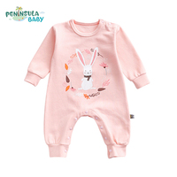 Baby Clothing Long Sleeve Printed Rabbit Flowers Circle Autumn Spring Baby Rompers Girl Boy Babe Newborn Kid Infant Jumpsuit