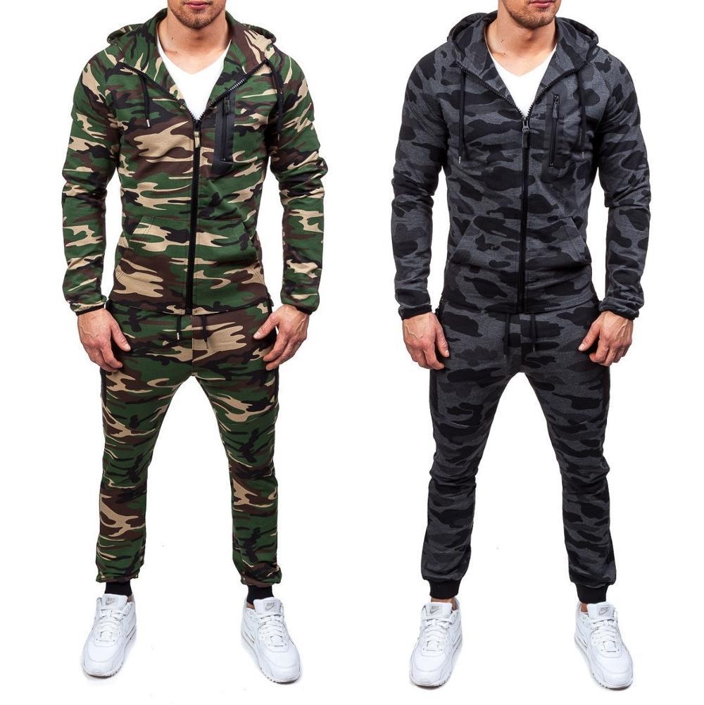 2019 Mens Tuta Degli Uomini Di Set Di Moda Casual Outwear Suitshooded Felpa E Pantaloni Set Vestito Di Pista Degli Uomini Del Vestito Di Sudore