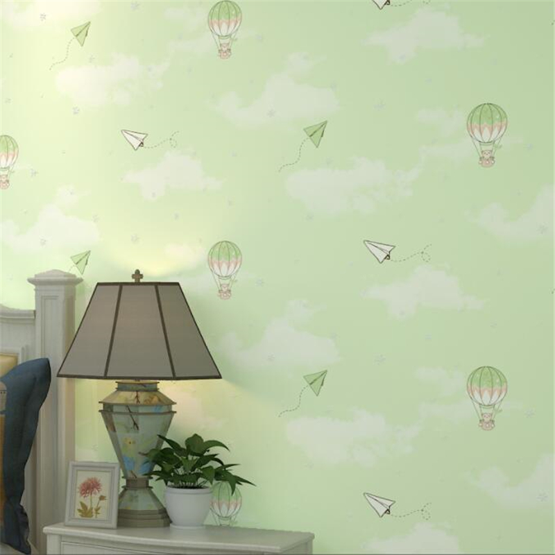 Cartoon hot air balloon green children's room non-woven wallpaper pink girl boy bedroom bedside background wallpaper Beibehang beibehang new children room wallpaper cartoon non woven striped wallpaper basketball football boy bedroom background wall paper