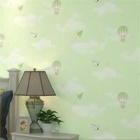 Cartoon hot air balloon green children's room non woven wallpaper pink girl boy bedroom bedside background wallpaper Beibehang