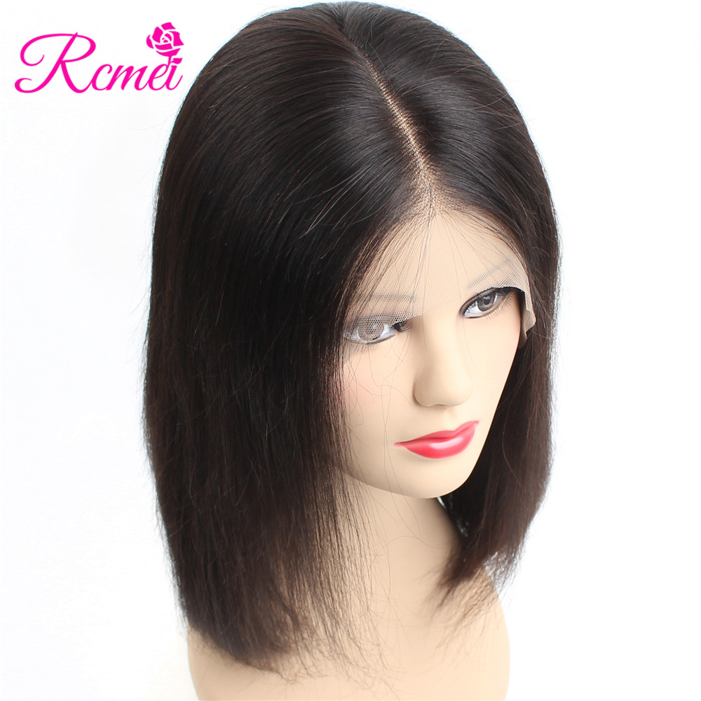 Rcmei 13 6 Lace Front Human Hair Wigs Brazilian Straight Hair Short Bob Wig For Black