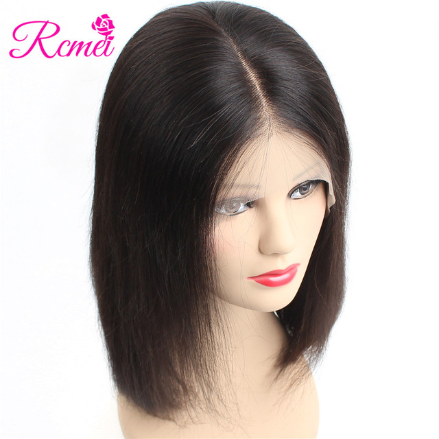 Rcmei 13*6 Lace Front Human Hair Wigs Brazilian Straight Hair Short Bob Wig For Black Women 150% Density Full Remy Hair Wigs