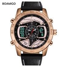 BOAMIGO men watch top Brand Luxury creative fashion casual sports watches digital analog quartz watch leather relogio masculino