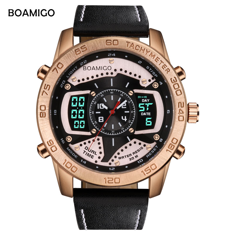 BOAMIGO Brand Luxury men sports watches gold dual display digital watches leather quartz wristwatches 30M waterproof