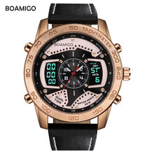 BOAMIGO Brand Luxury men sports watches gold dual display digital watches leather quartz wristwatches 30M waterproof gift clock