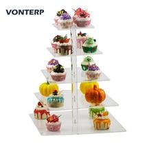 VONTERP 1PC square 5 Tier Acrylic Cupcake Display Stand /acrylic cake stand/Cake holder Square(4.7 between 2 layers)