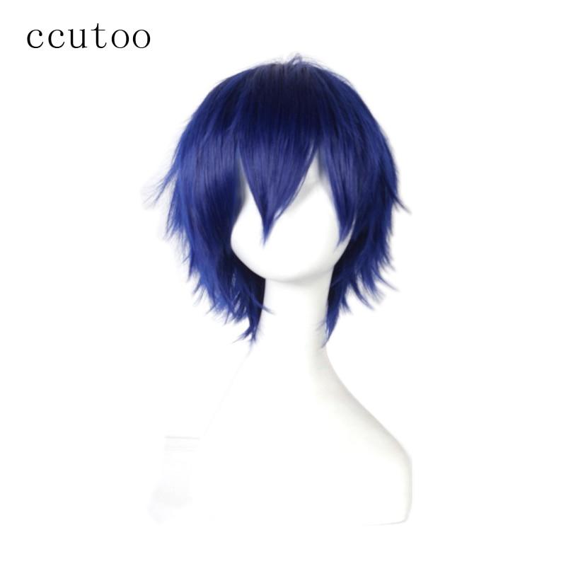 ccutoo Blue Short Fluffy Layered 30cm Ημερομηνία Ένα ζωντανό Shido Itsuka Συνθετικά μαλλιά Cosplay Πλήρες Περούκες Θερμότητας Fiber Fiber