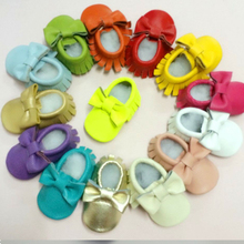 Handmade Soft Bottom Fashion Tassels Baby Genuine Leather Newborn Babies Shoes 12-colors Genuine leather Prewalkers Boots