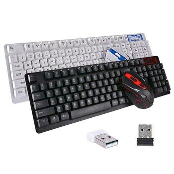 Новые удобные Беспроводной клавиатура Мышь Комплект USB 2,4 ГГц 1600 Точек на дюйм игровых мышей мультимедиа для компьютера PC Desktop QJY99