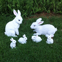 Rustic animal sculpture resin rabbit craft outdoor decoration 6pcs/lot garden decoration home Ornaments