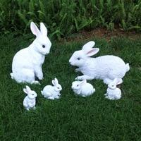 Rustic animal sculpture resin rabbit craft outdoor decoration 6pcs/lot garden decoration home Ornaments