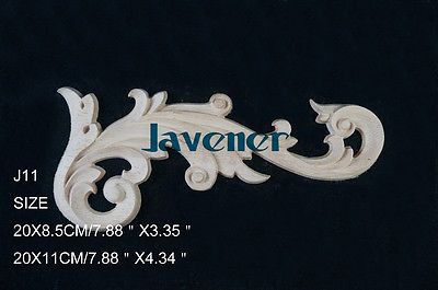 J11- 20x8.5x1cm Wood Carved Corner Onlay Applique Unpainted Frame Door Decal Working Carpenter Flower