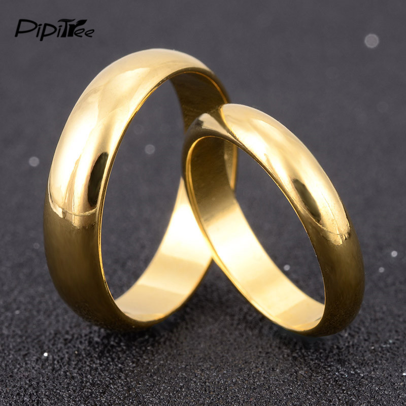 Simple Engagement Wedding Couple Rings Lovers Set Gold ...