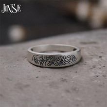 JINSE Pure 999 Sterling Silver Rings Flower Pattern New Fashion 100% S999 Solid Sterling Silver Ring for Women Men Jewelry 5mm  недорого
