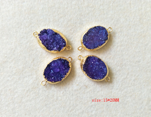 5pcs Natural amethyst Agat e geode Gold color Druzy Connector Drusy Gemstone Jewelry For DIY Making Bracelet necklace CT11