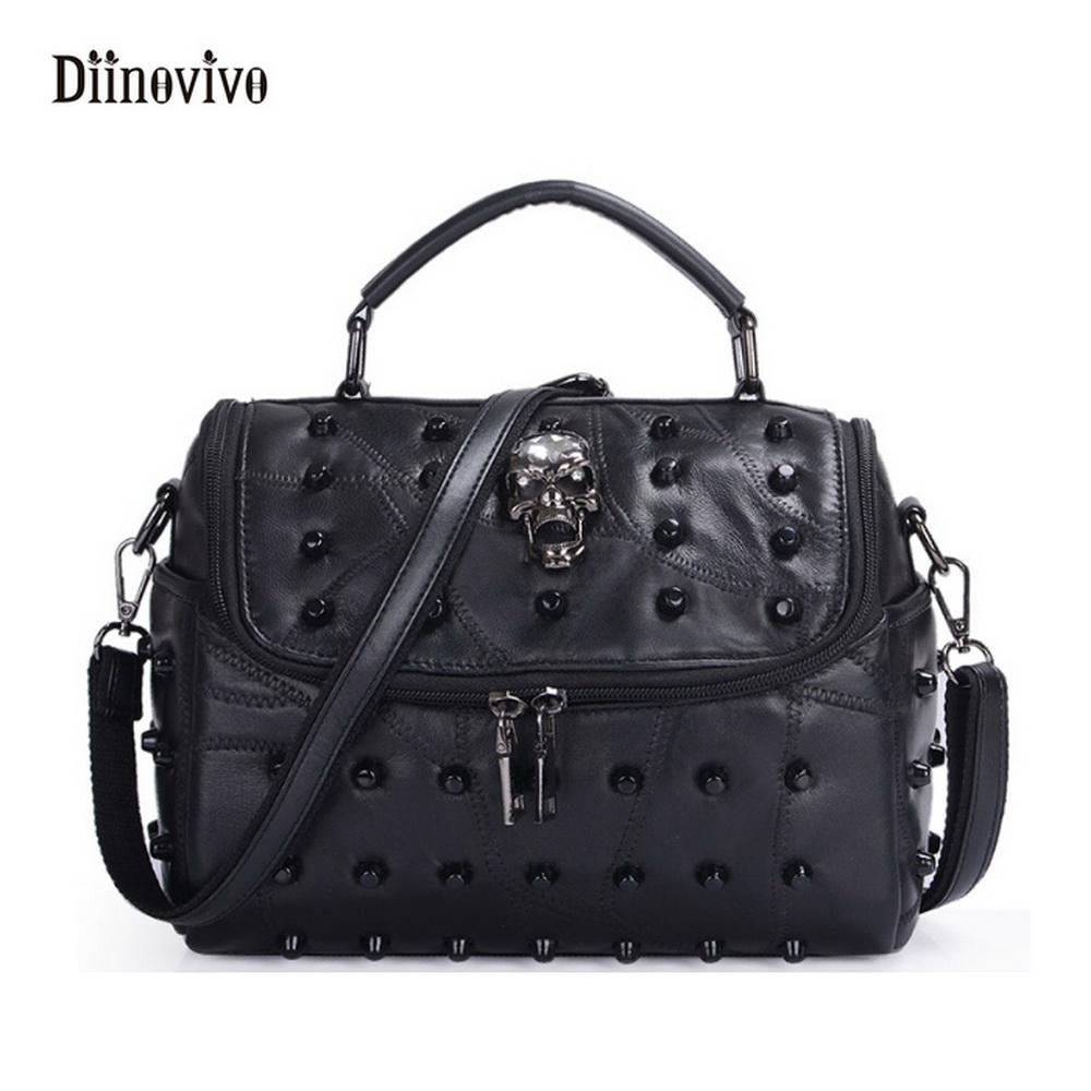 DIINOVIVO Solid Luxury Youth Leather Messenger Bags Casual Style Rivet Shoulder Bag Simple Brand Women Punk Totes WHDV0091