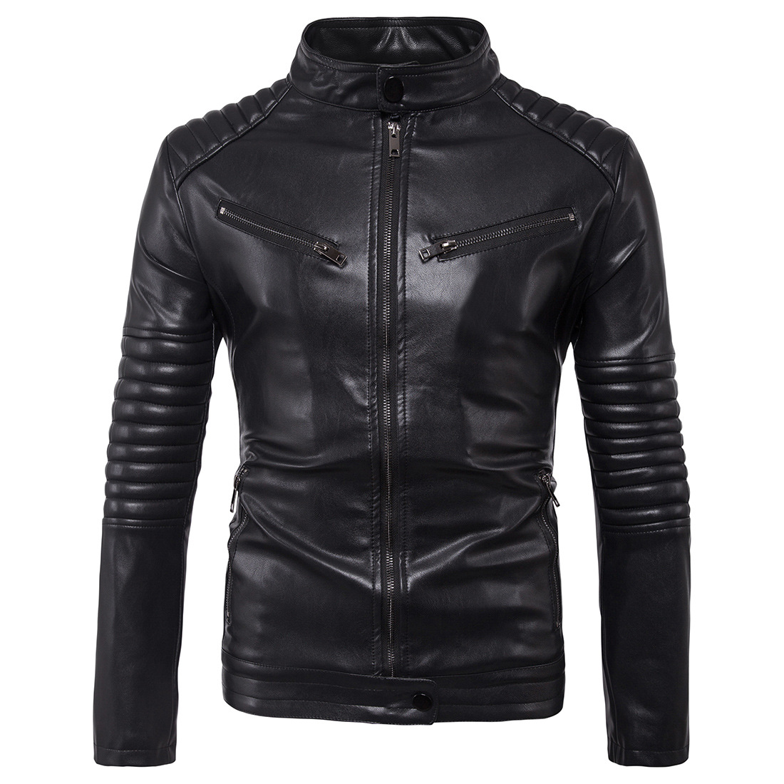Men Jacket Autumn Slim fit Faux leather jacket Motorcycle Bomber Leather Coats Big Jacket