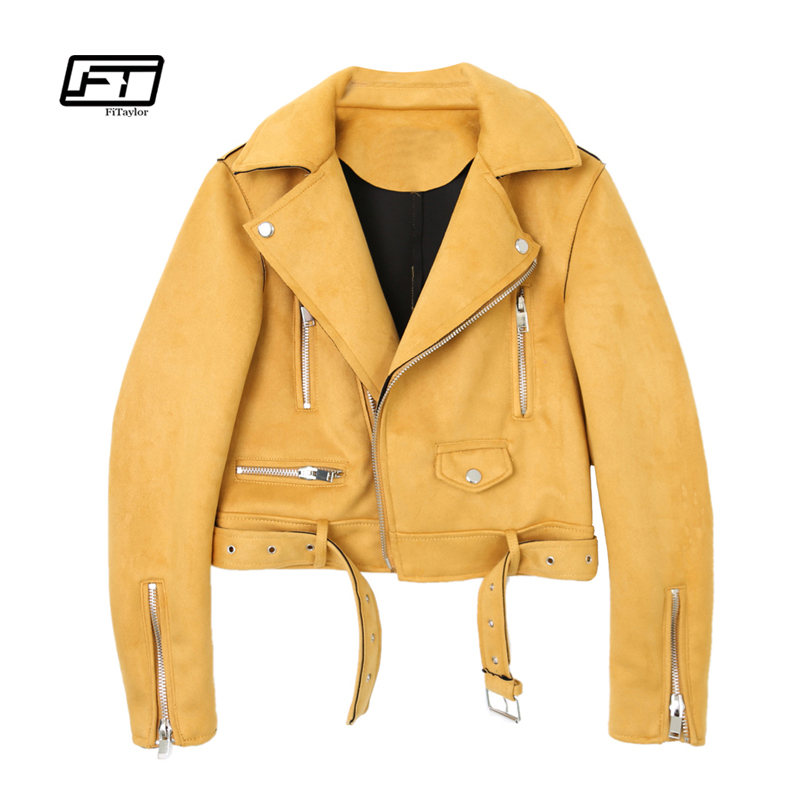 Fitaylor Motorcycle   Leather   Jacket Women   Suede   Faux   Leather   Jacket Yellow Black Pink Green Punk Outwear Biker Bomber Jacket