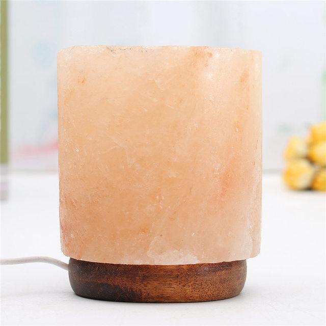 Cilíndrico USB Lâmpada de Sal do himalaia Natural Cristal De Rocha Elétrica Purificador de Ar Ionizado Table Desk Luz Da Noite Da Lâmpada Decorações