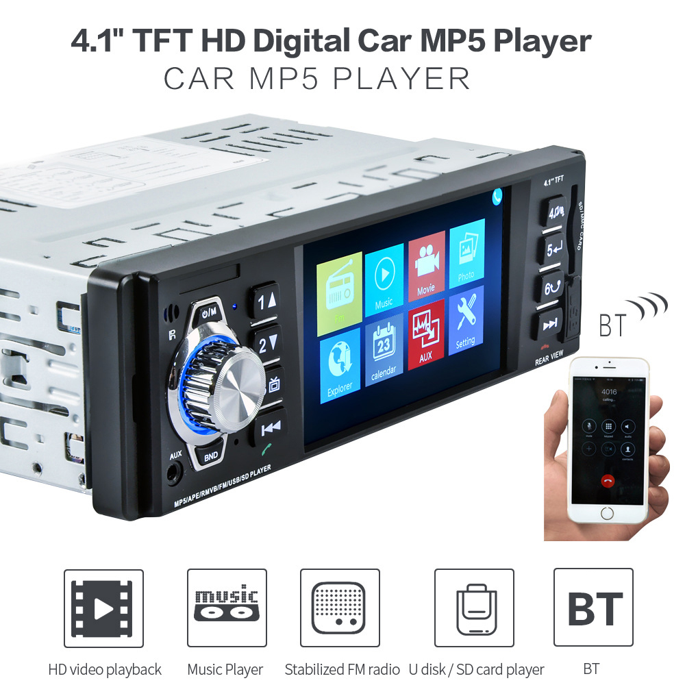 KKmoon 4.1 inch 1 Din Car Radio Audio Stereo 1Din SD USB AUX FM Radio Station BT with Rearview Camera Remote Control