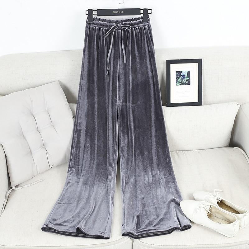 Fashion Velvet High Waist Wide Leg Pants Women Autumn Winter New Trousers Clothing 3