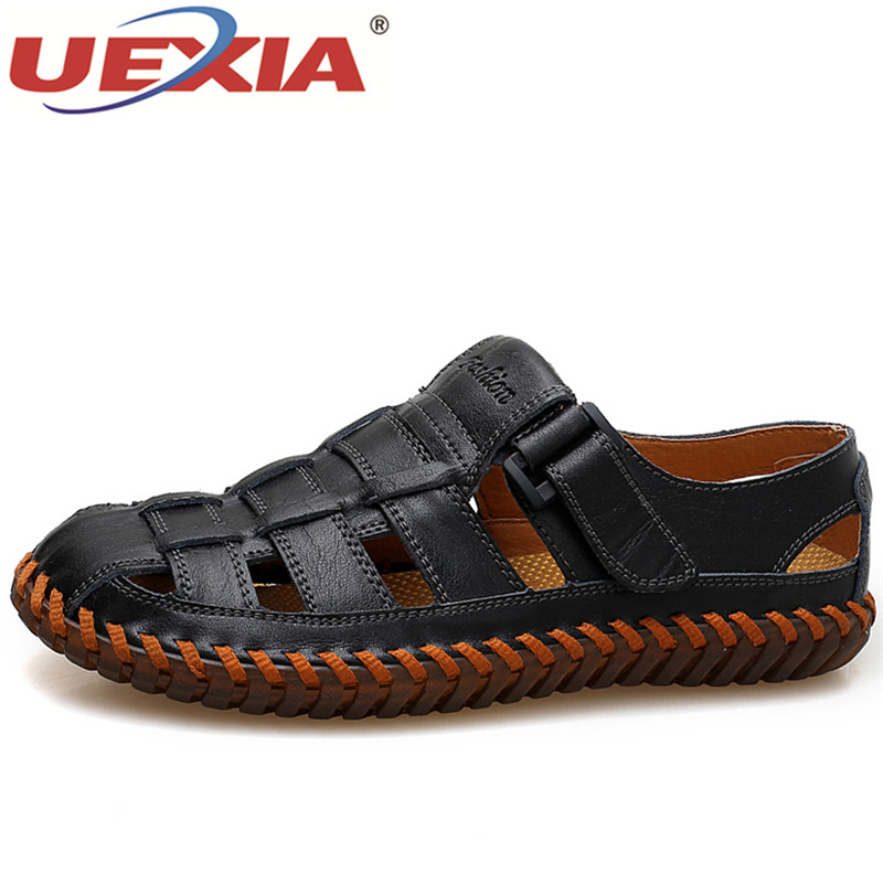 UEXIA Summer Leather Men Shoes Fashion Handmade Black Leather Casual Shose Male Designer Flats Shoes Mens Sneakers Moccasins