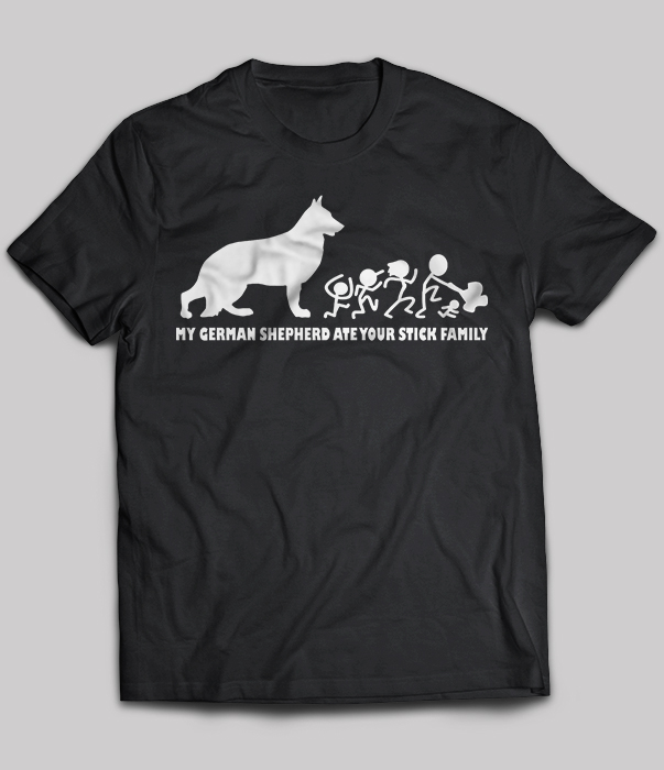 Gildan Brand My German Shepherd Ate Your Stick Family T-Shirt Men's Short Sleeve T-Shirt