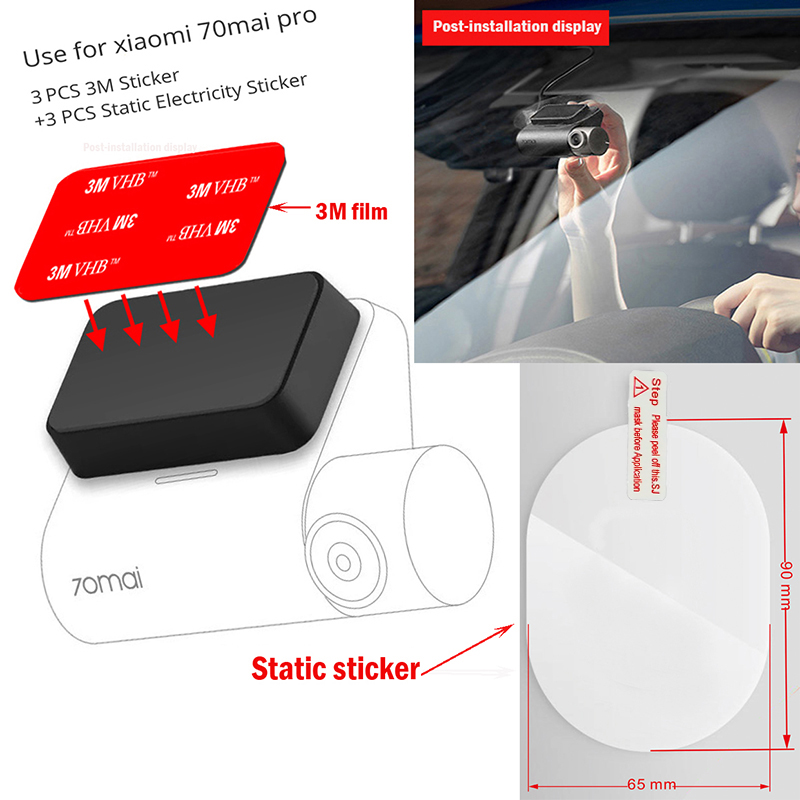Tools Pack For 70mai Pro 3M Holder Electrostatic Sticker For Dash Cam Heat Resistant Adhesive ,Suitable For 70mai Pro Car DVR