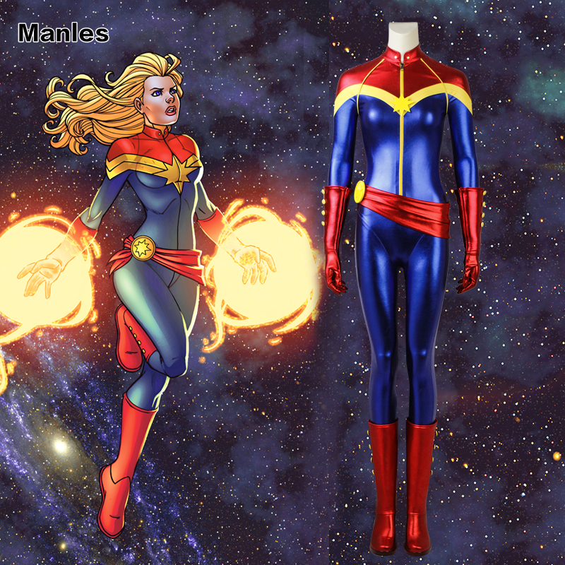Captain Marvel Cosplay Ms Marvel Carol Danvers Costume Blue Jumpsuit Comics Heroine Suit Halloween Clothes Bodysuit