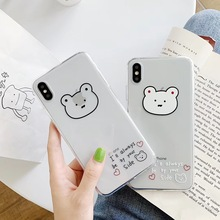 Newest simple cute English bear phone case For iphone Xs MAX XR X 6 6s 7 8 plus couple gift clear soft TPU back Cover Fundas