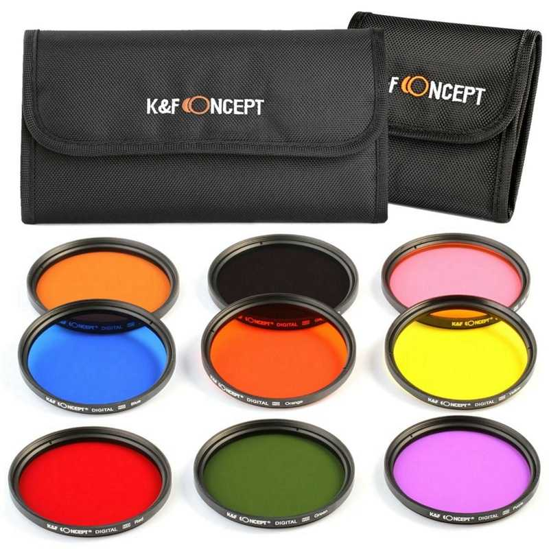 K&F Concept 9Pcs Round Full Color Lens Filter Kit Accessory For Dslr Camera
