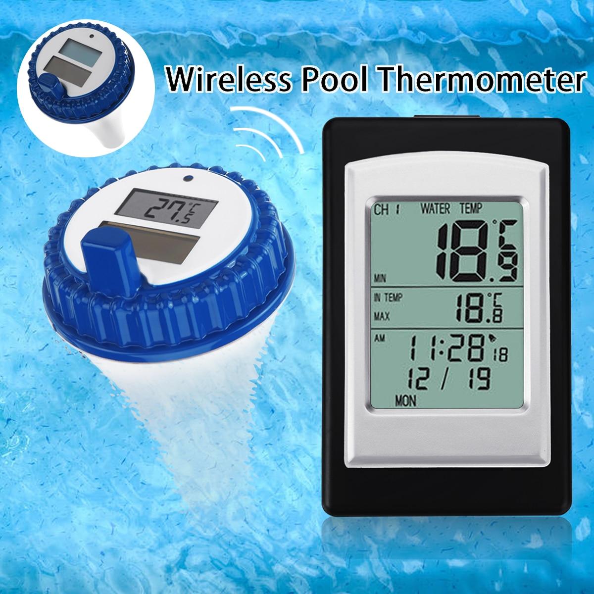 Professional Digital Sem Fio Piscina SPA Flutuante Termômetro Medidor de Temperatura Com 3 Canais/Hora Alarme/Calendário