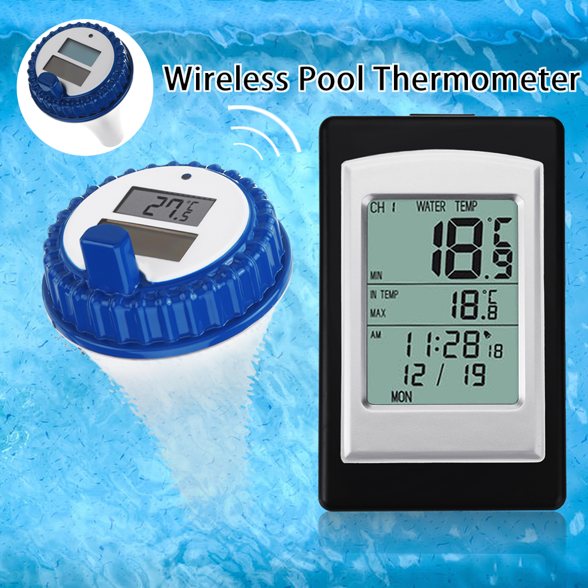 Professional Digital Wireless Swimming Pool Thermometer SPA Floating Temperature Meter With 3 Channels/Time Alarm/CalendarProfessional Digital Wireless Swimming Pool Thermometer SPA Floating Temperature Meter With 3 Channels/Time Alarm/Calendar