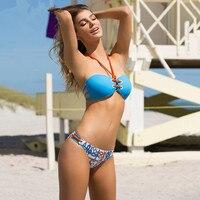 Newest Blue Sexy Strappy Bikini String Swimsuit 2017 Bandage Bikini Cut Out Swimwear Women Two Piece