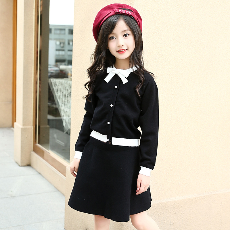 4 6 8 10 12 13 Years Girls Sweater Suit Spring Autumn Children Clothing Sets Fashion Cute Girls Coat+Skirts 2 pcs Kids Clothes children clothing sets for teenage boys and girls camouflage sports clothing spring autumn kids clothes suit 4 6 8 10 12 14 year