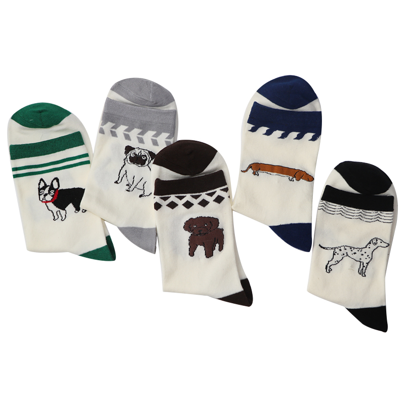 5Pair/Lot Lovely Cute Animal Embroidery Women Socks Female White Socks Woman Funny Meias Socks Chausettes Femme Calcetines Mujer