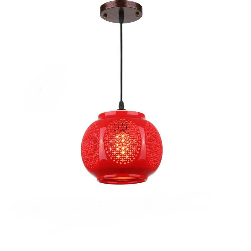 Chinese ceramic small Pendant Lights China red lanterns on the balcony aisle entrance hall aisle lamp home festive lights ZS3 chinese style wooden round wood art pendant lights of modern chinese restaurant restaurant balcony aisle festive lamp zs34