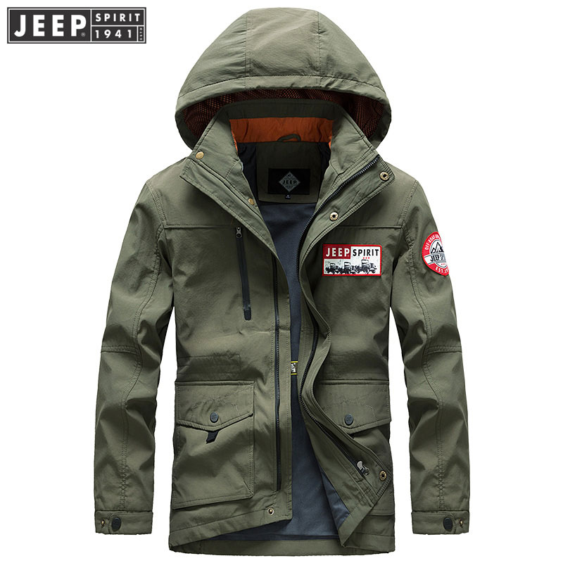 Men Clothes JEEP 2019 Spring Cargo Jackets Coat Military Hooded Bomber Clothes Long Sleeve Solid Color Fashion Jacket Original