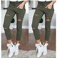 Mulheres buraco leggings Womens Ladies Desbotada Rasgado Slim Fit Skinny Jeans Stretch Calças Leggings de Algodão Calças de Ganga Para Mulheres