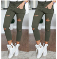 Women hole leggings Womens Ladies Stretch Faded Ripped Slim Fit Skinny Denim Jeans Pants Cotton Leggings Jeans Pants For Women